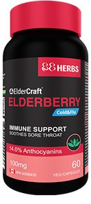 88Herbs ElderCraft Elderberry 100mg Cold & Flu - Immune Support 60 Veg Capsules