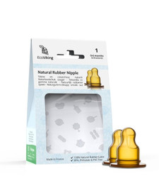 EcoViking Natural Rubber Nipple - Standard Neck Orthodontic (2-Pack) - Stage 1 (0-6 Months) | 7340151700217