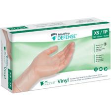 MedPro Defense Vline Vinyl Powder-Free Medical Examination Gloves - Box of 100 | 010-205 | X-Small