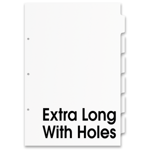 17x11 White 6 Tabbed Dividers Extra Long With Holes (48 per Package)