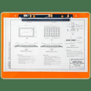 "19x13 Clipboard Acrylic Panel Featuring an 11"" Hinge Clip Orange"