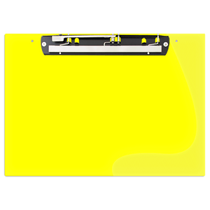 """19x13 Clipboard Acrylic Panel Featuring an 11"""" Hinge Clip Yellow"""