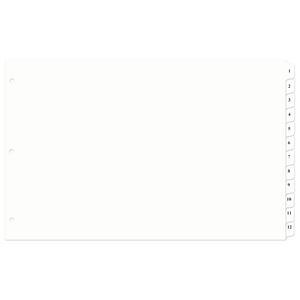 11x17 12 Tabbed Dividers Numbered 1 - 12 With Holes