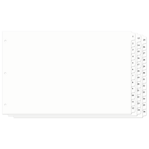 11x17 Index Tab Divider, 12 Tab, 1 Set, (Numbered 1-36) (Pre-Punched Holes)