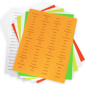 Print & Apply Multi-Color Pack of Labels for 1/5th Cut 11x17 Index Dividers
