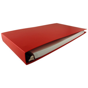 """11x17 Binder Poly Panel Featuring a 1.5"""" Angle-D Ring Red"""