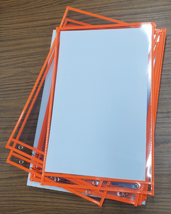 """Stitched Shop Ticket Holders, Both Sides Clear, 11"""" x 17"""", Orange (10 per pack)"""