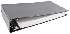 """11x17 Black Binder Vinyl Panel with top opening pockets Featuring a 3"""" Angle-D Ring"""