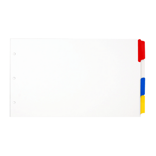 Legal (8.5x14) 4 White Tabbed Dividers with Multi Color Tabs