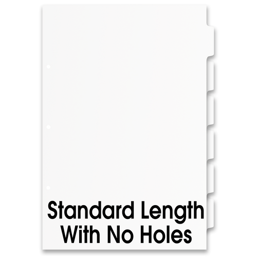 Single Set 17x11 6 Tabbed Dividers without Holes (6 per Package)