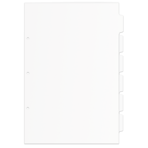 Single Set 17x11 6 Tabbed Dividers with Holes (6 per Package)