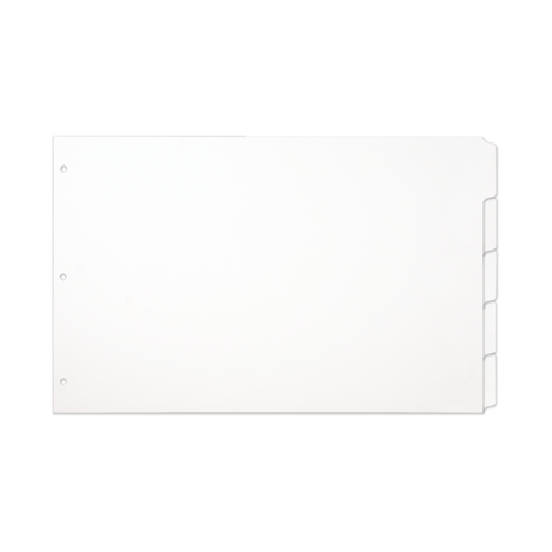 Single Set 11x17 White 5 Tab Index Dividers Hole Punched with Mylar Tabs