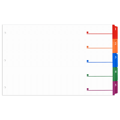 11x17 Multi Colored 5 Tabbed Numbered from 1 to 5 Dividers (10 per Package) With Holes