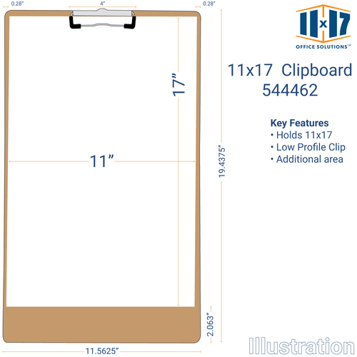11x17 Clipboard Hardboard Panel Featuring a Low Profile Clip Light Brown (544462)