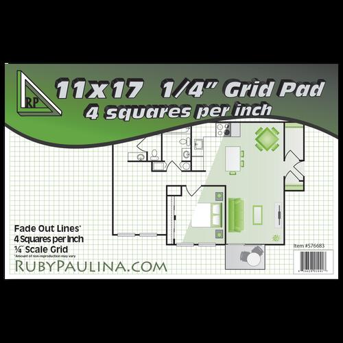 "11x17 Grid Pad 1/4"" Square Quadrille Graph (50 Sheets per pad)(576683)"