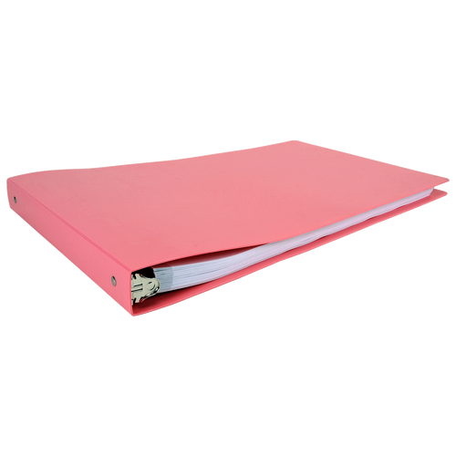 """11x17 Binder Poly Panel Featuring a 1"""" Round Ring Pink"""