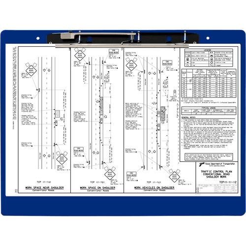 """19x13 Clipboard Acrylic Panel Featuring an 11"""" Hinge Clip Blue"""