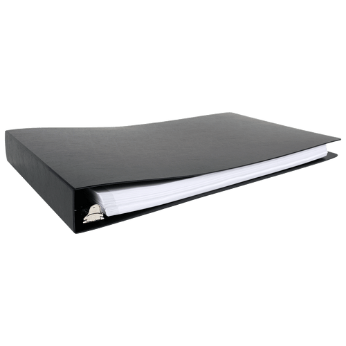 """11x17 Binder Poly Panel Featuring a 1.5"""" Angle-D Ring Black"""