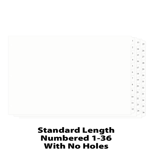 11x17 12 Tabbed Dividers Numbered 1 - 36 with No Holes
