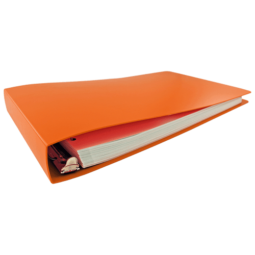 """11x17 Binder Poly Panel Featuring a 1.5"""" Angle-D Ring Orange"""