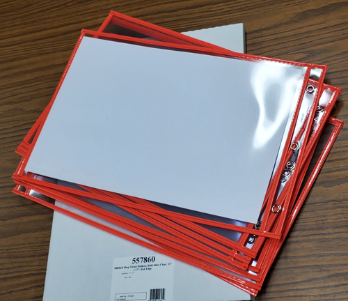 """Stitched Shop Ticket Holders, Both Sides Clear, 11"""" x 17"""", Red (10 per pack)"""