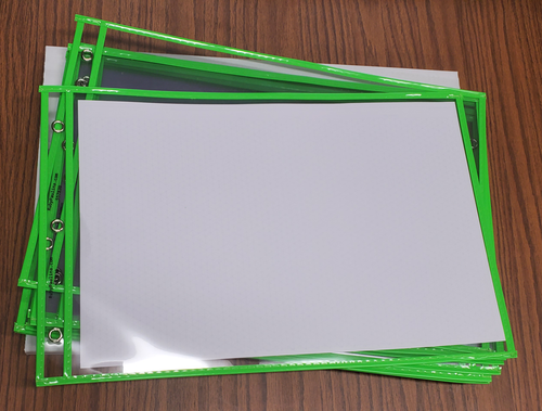"""Stitched Shop Ticket Holders, Both Sides Clear, 11"""" x 17"""", Green (10 per pack)"""