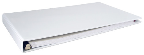 """11x17 Binder White Vinyl Panel with top opening pockets Featuring a 1"""" Angle-D Ring"""