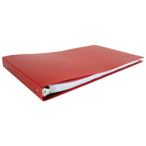 """11x17 Binder Poly Panel Featuring a 1"""" Round Ring Red"""