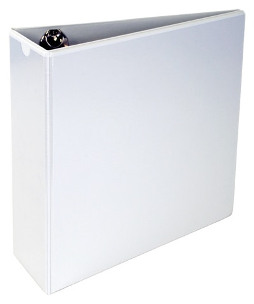 """A4 - Binder 3"""" Angle-D Ring Vinyl with Outside Pockets (3-Ring) (White) MANUFACTURED SECONDS"""