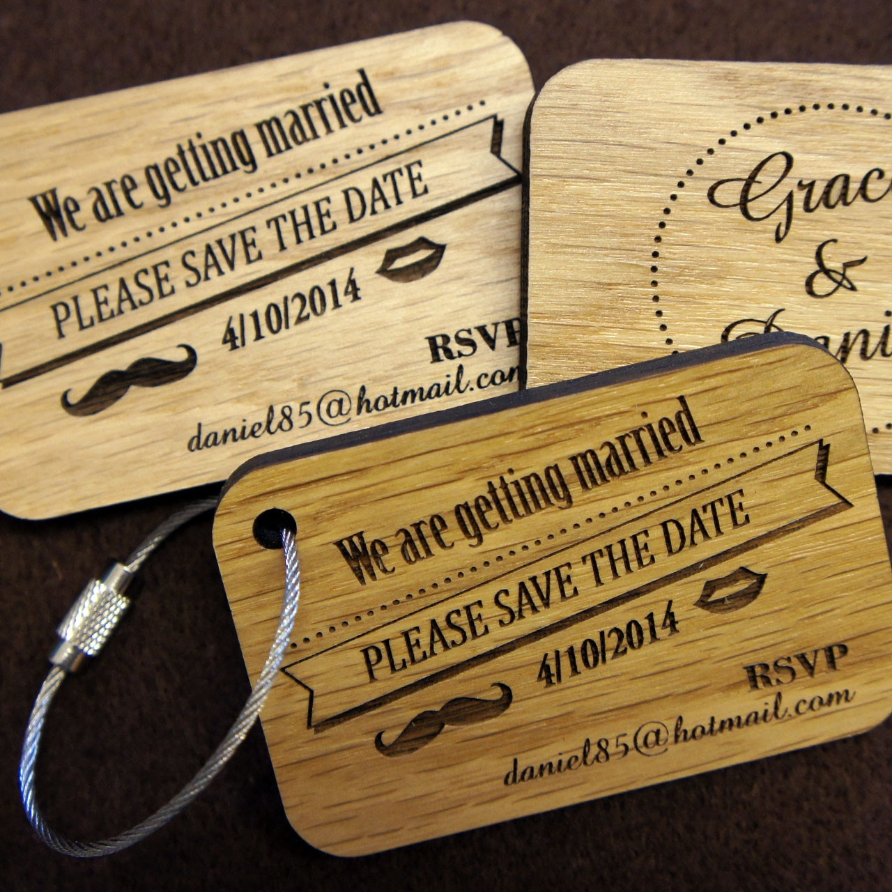 Wooden Save the Date Keyrings