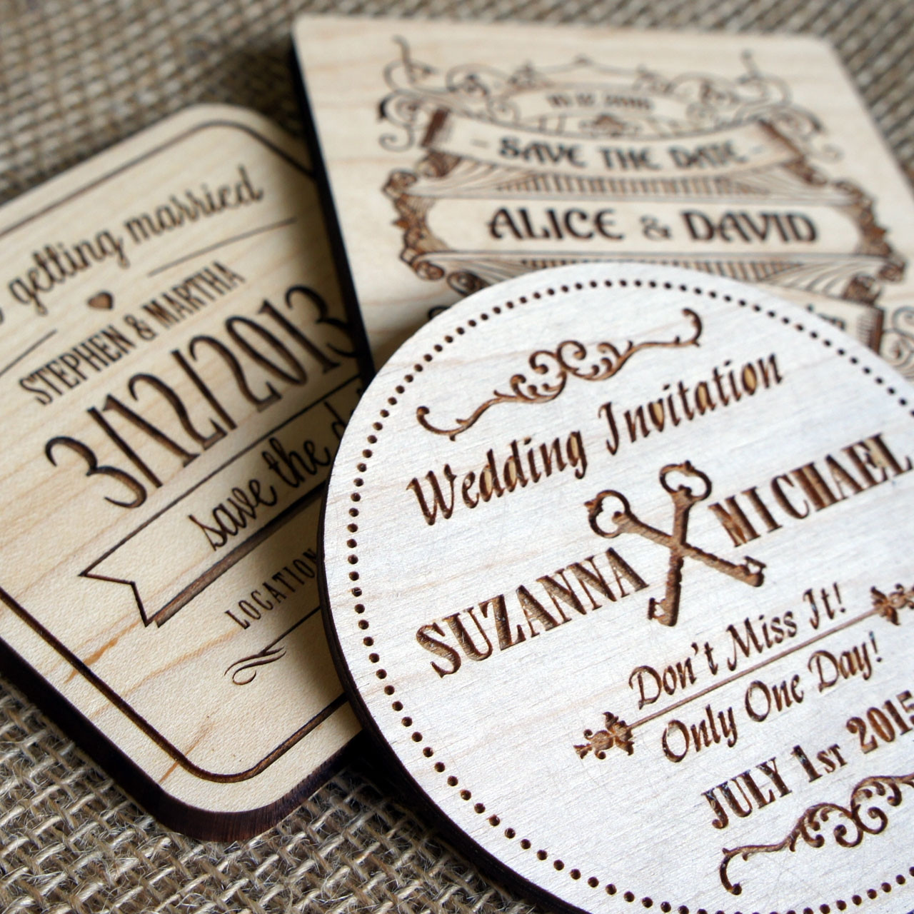 Wooden Save the Date Coasters