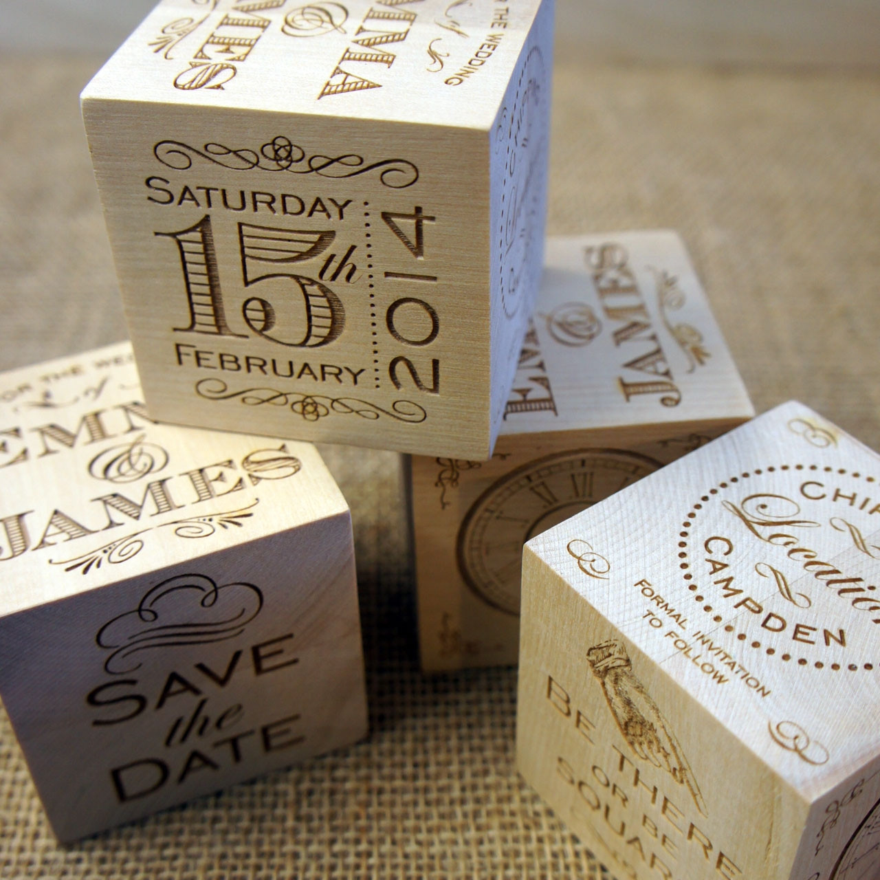 Wooden Save the Date Cube