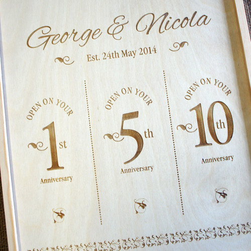 Wooden Anniversary Wine Box Triple Style 1