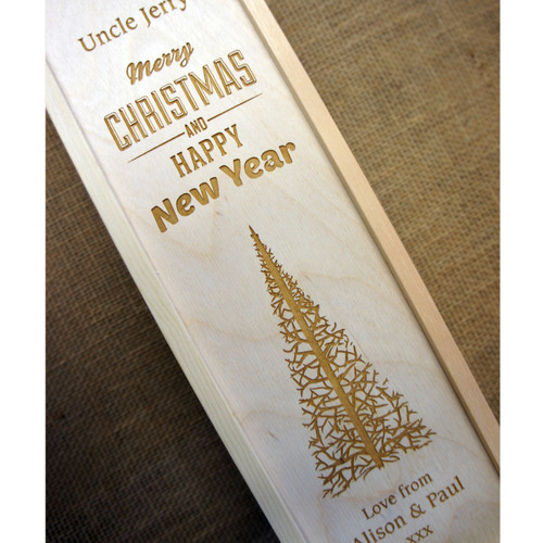 Personalised engraved Christmas 1 bottle wooden winebox
