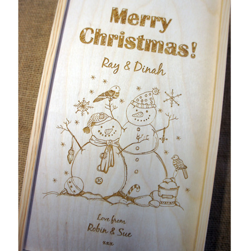 2 bottle Christmas wine box with personalised engraving