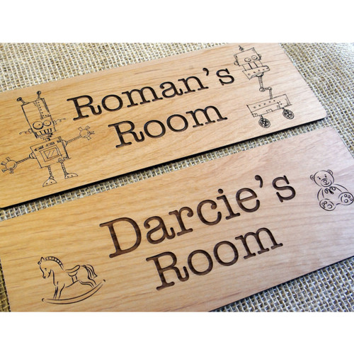Wooden engraved children's and baby's bedroom signs