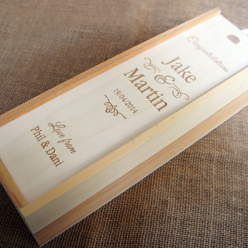 Wooden laser engraved Wedding Wine Box - Single Style 6