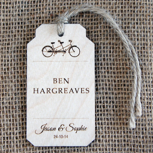 Personalised, engraved Wooden Wedding Place Names - Tandem Luggage Tag with twine