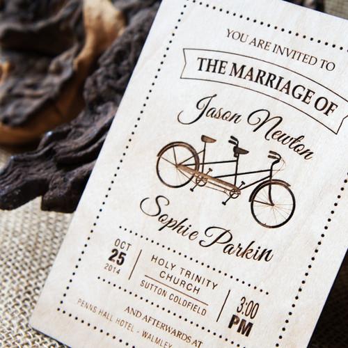 Wooden Wedding Invitations - Tandem