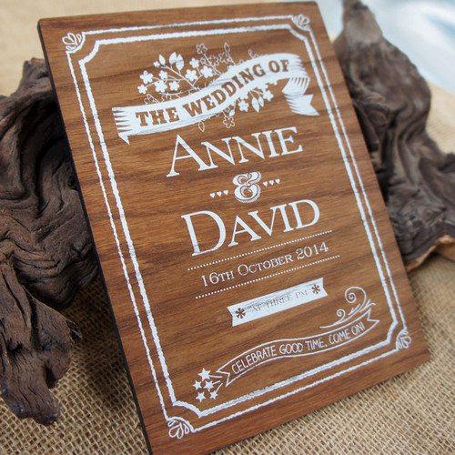 Printed Wooden Wedding Signs - Printed white onto wood