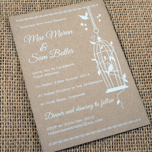 Kraft Wedding Invitations - Birdcage