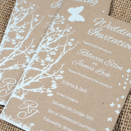 Kraft Wedding Invitations - Butterfly