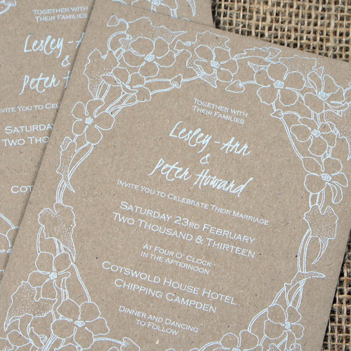 Kraft Wedding Invitations - Flower Border