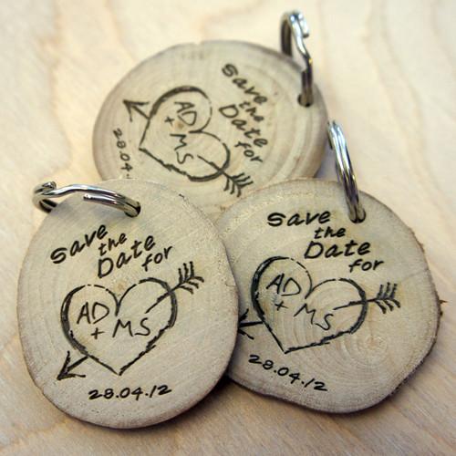 Save the Date Wood Slice Keyring
