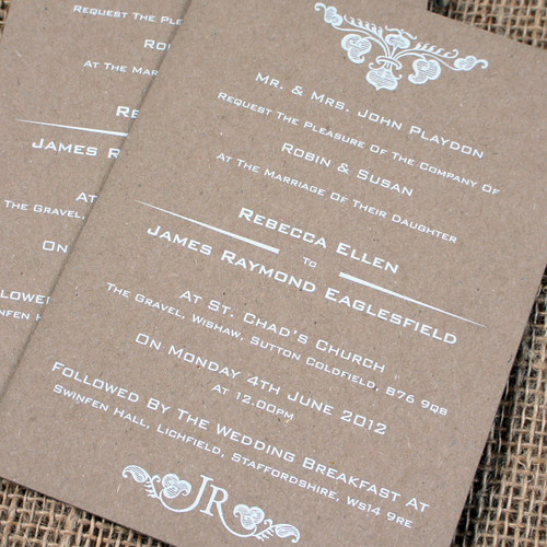Kraft Wedding Invitations - Plume