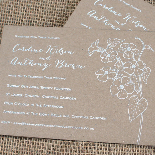Kraft Wedding Invitations - Posy