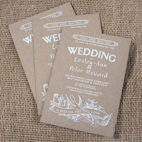 Kraft Wedding Invitations - Swallows