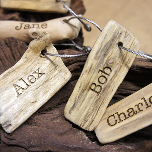 """Personalised, engraved driftwood keyrings which are ideal gift for that """"hard to buy for"""" person. Engraving in American Typewriter Font."""