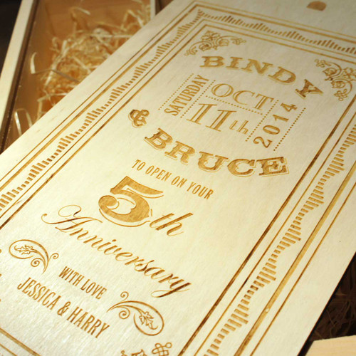 Wooden Anniversary Double Personalised Winebox - with open on your 5th anniversary graphics