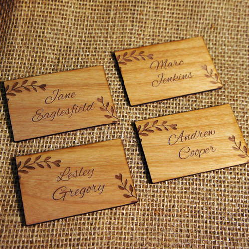Wooden Wedding place names with Alder wood veneer - Leaves